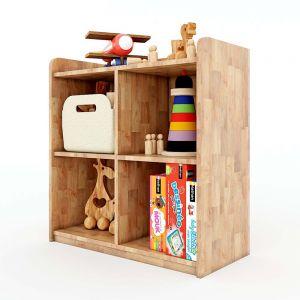 Tủ mầm non 4 ngăn có viền gỗ cao su màu tự nhiên KGS003