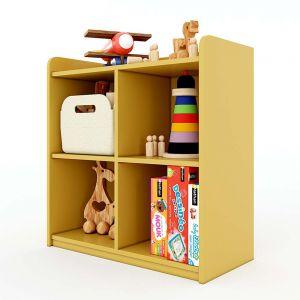 Tủ mầm non 4 ngăn có viền gỗ cao su sơn nhiều màu KGS004