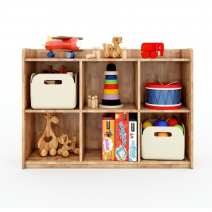 Tủ mầm non 6 ngăn có viền gỗ cao su màu tự nhiên KGS005