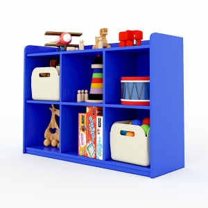 Tủ mầm non 6 ngăn có viền gỗ cao su nhiều màu KGS006