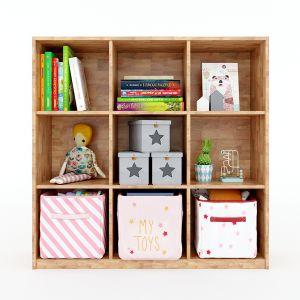 Tủ mầm non 3 tầng 9 ngăn gỗ cao su màu tự nhiên KGS007
