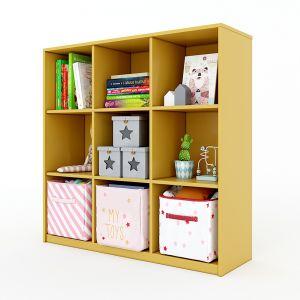 Tủ mầm non 3 tầng 9 ngăn gỗ cao su nhiều màu KGS008