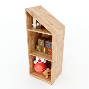 Tủ mầm non 3 tầng gỗ cao su màu tự nhiên KGS009