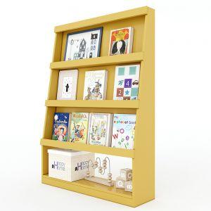 Kệ mầm non trưng bày sách gỗ cao su nhiều màu KGS014