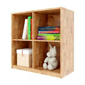 Kệ sách, kệ để đồ 4 ngăn gỗ cao su màu tự nhiên KGS017