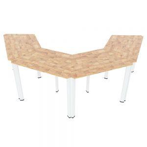 Module bàn cụm 4 hệ Lego gỗ cao su chân sắt oval MDS001