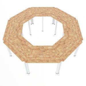 Module bàn cụm 8 hệ Lego gỗ cao su chân sắt oval MDS002