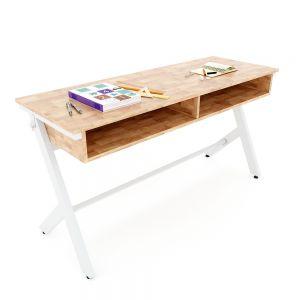 Bàn học đôi có hộc Yaris 04 gỗ cao su chân sắt sơn tĩnh điện PSD028