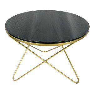 Bàn Sofa mặt kính đen chân chữ V vàng đồng TT68127