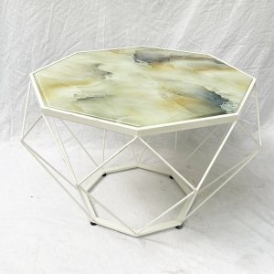 Bàn Sofa Dimond mặt kính giả đá khung sắt sơn tĩnh điện TT68129