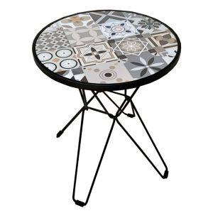 Bàn cafe tròn mặt bàn gạch men chân sắt láp CFD68086