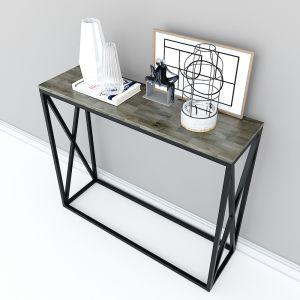 Bàn console, bàn trang trí gỗ cao su chân sắt chữ X CST003