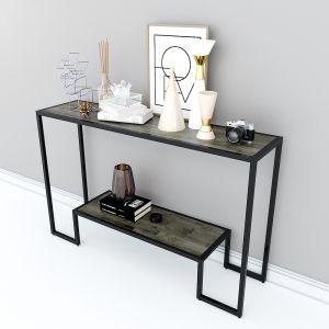 Bàn console, bàn trang trí 2 tầng gỗ màu nâu lau CST008