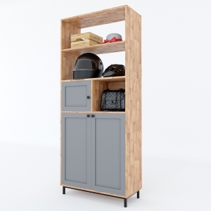 Tủ giày 4 tầng kết hợp kệ để đồ gỗ cao su chân sắt KG68024