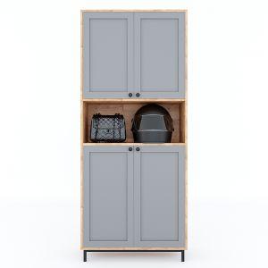 Tủ giày 4 tầng kết hợp tủ để đồ gỗ cao su chân sắt sơn tĩnh điện KG68025