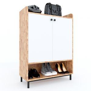 Tủ kệ giày 5 tầng bo góc gỗ cao su chân sắt 80x35x110(cm) KG68029