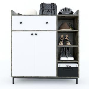 Tủ giày kết hợp kệ để đồ gỗ cao su chân sắt 100x35x110cm KG68032