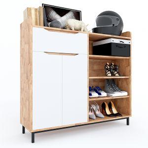 Tủ kệ giày 1m2 có ngăn kéo gỗ cao su chân sắt 120x35x110(cm) KG68034
