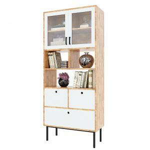 Tủ sách, tủ trưng bày nhiều ngăn gỗ cao su 80x35x186(cm) KTB68094