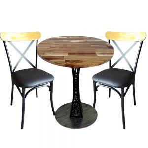 Combo Bàn Cafe Tròn 60cm Gỗ Tràm Và 2 Ghế Nệm Lưng Tựa CBCF075