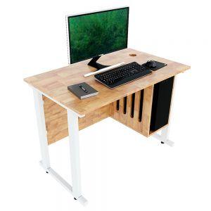 Bàn máy tính kết hợp kệ để CPU gỗ cao su chân sắt sơn tĩnh điện CDS001