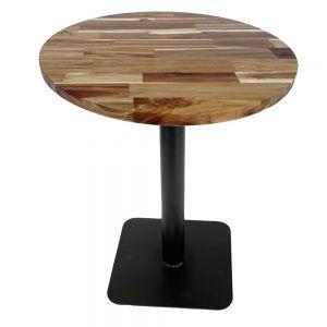 Bàn cafe gỗ tràm dày 25mm chân sắt đế vuông CFD68084