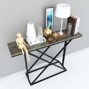 Bàn console, kệ trang trí mặt gỗ màu nâu lau khung sắt sơn tĩnh điện CST005