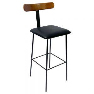 Ghế bar lưng tựa gỗ chân sắt sơn tĩnh điện GBAK008