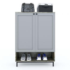 Tủ kệ giày 5 tầng gỗ cao su chân sắt sơn tĩnh điện 80x35x110cm KG68027