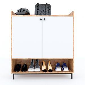 Tủ kệ giày 5 tầng gỗ cao su chân sắt sơn tĩnh điện 100x35x110cm KG68030