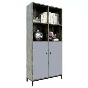 Tủ kệ sách đơn giản gỗ cao su đế chân sắt 80x30x170(cm) KS68113