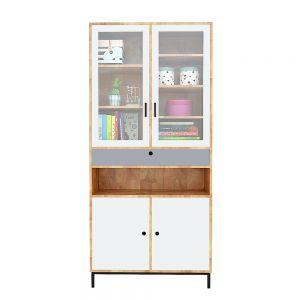 Tủ sách, tủ trưng bày cửa kính gỗ cao su 90x35x195(cm) KTB68093