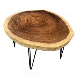 Bàn sofa mặt gỗ me tây dày 7cm đường kính 90cm chân sắt hairpin BMT064