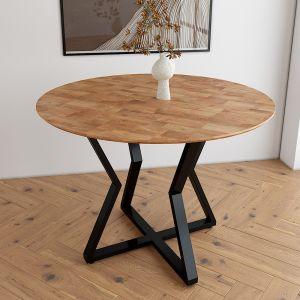 Bàn ăn tròn 1m VERA mặt gỗ nhiều màu chân sắt sơn tĩnh điện BA68044