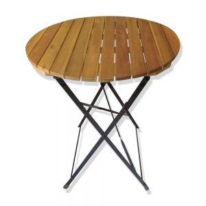 Bàn tròn xếp gọn ngoài trời SHEFIELD mặt gỗ tràm CFD68091