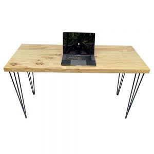 Bàn làm việc 140x60cm gỗ thông dày 4cm chân sắt Hairpin SPD68157