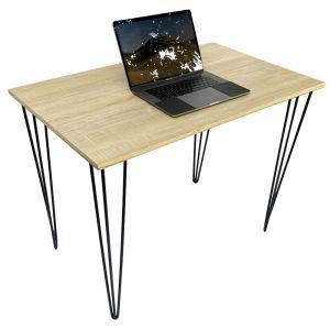 Bàn làm việc đơn giản mặt gỗ Plywood chân sắt Hairpin, kích thước 100x60x75 HOBP028