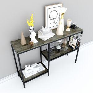 Bàn trang trí, bàn console 3 tầng gỗ màu nâu lau độc đáo CST012