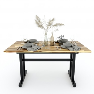 Bàn ăn INCO mặt gỗ tràm chân sắt sơn tĩnh điện BA68057