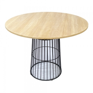 Bàn ăn tròn CUBE 02 mặt gỗ Plywood chân sắt BA68071