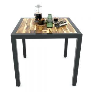 Bàn ăn UNO 03 mặt vuông 80cm gỗ tràm chân sắt BA68060