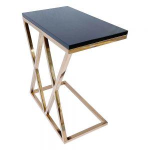 Bàn bên sofa khung inox Rose Gold mặt gỗ SST010
