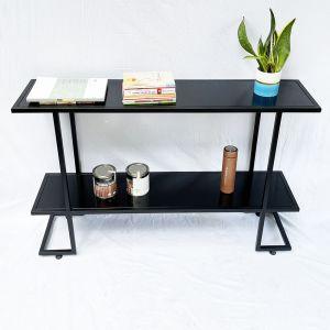 Bàn console, bàn trang trí 2 tầng mặt gỗ khung sắt CST016