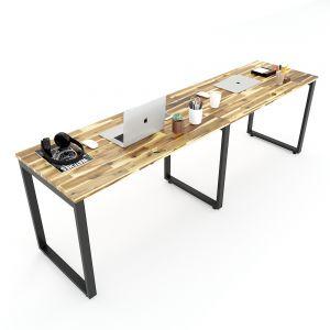 Bàn làm việc cụm 2 240x60cm gỗ tràm hệ Wooden HBWD037