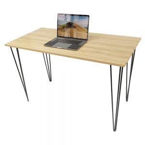 Bàn làm việc gỗ Plywood melamin vân sồi chân sắt Hairpin SPD68163