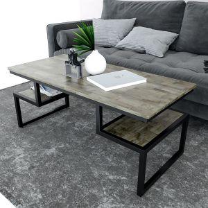 Bàn sofa 2 tầng mặt gỗ cao su khung sắt TT68142