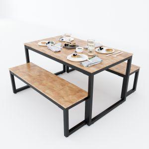 Bộ Bàn ăn gỗ cao su và 2 ghế băng dài CBBA036