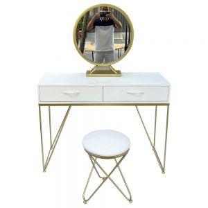 Bộ bàn ghế trang điểm khung chữ V vàng đồng BTD68053