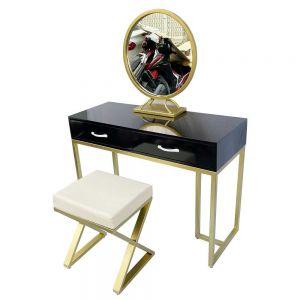 Bộ bàn ghế trang điểm khung màu vàng đồng BTD68051
