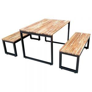 Bộ bàn ăn gỗ tràm 120x80cm và 2 ghế băng dài CBBA039